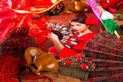Femme de flamenco avec le toréador et l'Espagne typique Espana Images stock
