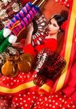 Femme de flamenco avec le toréador et l'Espagne typique Espana Photographie stock