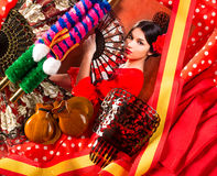 Femme de flamenco avec le toréador et l'Espagne typique Espana Photo stock