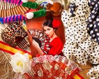Femme de flamenco avec le toréador et l'Espagne typique Espana Photos libres de droits