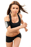 Femme de forme physique sur courir de régime, fonctionnant en gymnastique Image stock