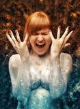 Femme de glace au feu Images libres de droits