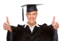 Femme de graduation image stock