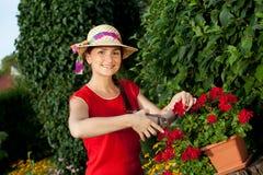 Femme de jardinier images stock