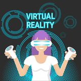 Femme de jeu de réalité virtuelle portant le contrôleur Modern Technology Concept de jeu de prise en verre de Vr Photographie stock libre de droits