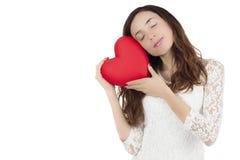 Femme de jour de valentines tenant un coeur Photographie stock