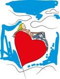 Femme de jour de valentines avec le ballon de coeur illustration de vecteur