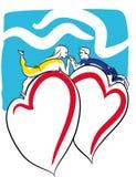 Femme de jour de valentines avec le ballon de coeur illustration libre de droits
