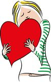 Femme de jour de valentines avec le ballon de coeur illustration stock