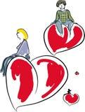 Femme de jour de valentines avec le ballon de coeur Photos stock