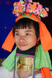 Femme de Kayan avec des bobines de cou Image libre de droits