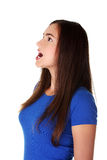 Femme de l'adolescence choqué recherchant Photos stock