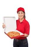 Femme de la distribution de pizza photographie stock