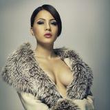 Femme de luxe dans un manteau gris Photographie stock libre de droits