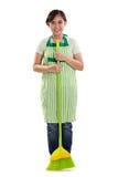 Femme de ménage avec le balai vert photographie stock