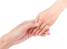 Femme de main de prise de main du ` s d'homme avec amour pour le concept d'amour Image libre de droits