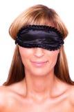 Femme de masque de sommeil Photo stock