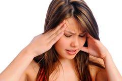 Femme de migraine de douleur de mal de tête photos stock