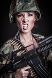 Femme de mitrailleuse image stock