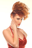 Femme de mode avec la grande coiffure Image libre de droits