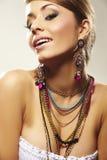 Femme de mode avec le bijou Images libres de droits