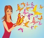 Femme de mode avec le guindineau, illustration de vecteur Image stock