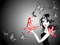 Femme de mode avec le guindineau, illustration de vecteur Photos stock