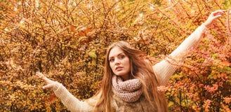 Femme de mystère contre les feuilles automnales extérieures photographie stock libre de droits