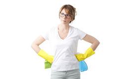 Femme de nettoyage Images libres de droits