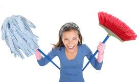 Femme de nettoyage drôle d'isolement Photo stock