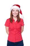 Femme de Noël dans le chapeau de Santa images libres de droits
