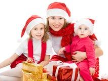 Femme de Noël heureux avec des enfants Images libres de droits
