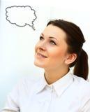 Femme de pensée avec l'idée Image libre de droits