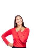 Femme de pensée d'affaires en rouge Photos stock