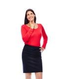 Femme de pensée d'affaires en rouge Photo stock