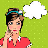 Femme de pensée d'art de bruit Image stock