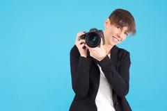 Femme de photographe Photographie stock
