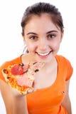 Femme de pizza Photographie stock libre de droits