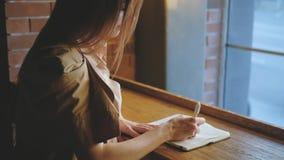 Femme de planification d'horaire écrivant le carnet d'ordre du jour banque de vidéos