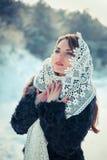 Femme de prière dans le tippet de dentelle en hiver Fille de conte de fées dans un paysage d'hiver Noël Images stock
