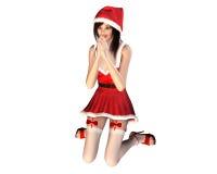Femme de prière, espérant un cadeau de Noël illustration stock