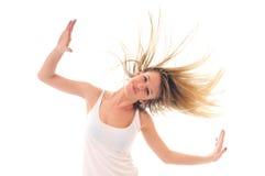 Femme de réception d'isolement avec le vent dans le cheveu Images stock
