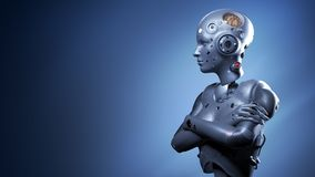 Femme de robot, intelligence artificielle de femme de la science fiction illustration stock