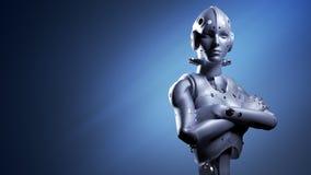 Femme de robot, intelligence artificielle de femme de la science fiction illustration de vecteur