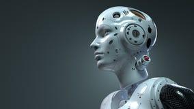 Femme de robot, monde num?rique de femme de la science fiction de l'avenir des r?seaux neurologiques et l'artificiel photographie stock