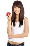 femme de rouge de pomme Images stock