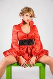 femme de rouge de robe Image stock