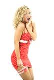 femme de rouge de robe de beauté Images stock