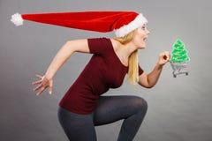 Femme de Santa tenant le caddie avec des cadeaux de Noël image libre de droits