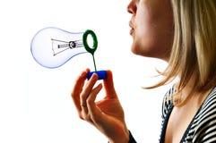 femme de savon de lampe d'ampoule de bulle photographie stock libre de droits